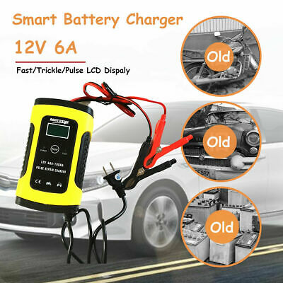 12V 6A Auto Fast Smart Lead Acid GEL Battery Charger For Car Motorcycle LCD US