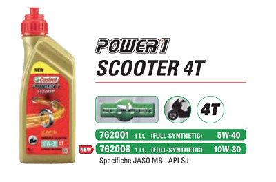 Castrol POWER 1 Full Synthetic 10W-30 1L Olio per Motori Scooter 4T