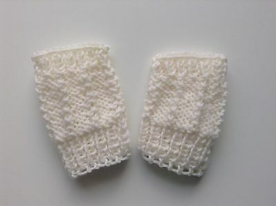 Baby mittens Fingerless Boy / girl Ivory White Pure wool mitts