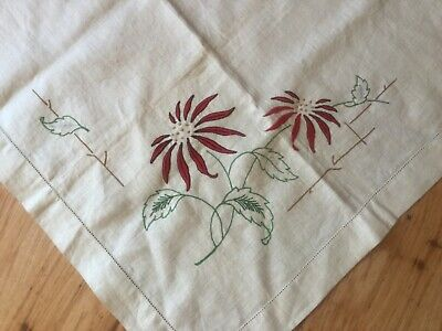 Unfinished Embroidery - Table cloth to be completed - Poinsettias