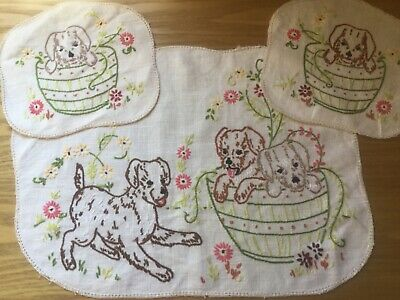 Vintage hand embroidered Duchess set - Puppies in Barrell