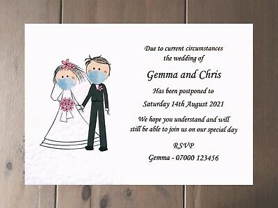 10 Wedding Change of Date Cards - Wedding Postponed Cards With Face Masks