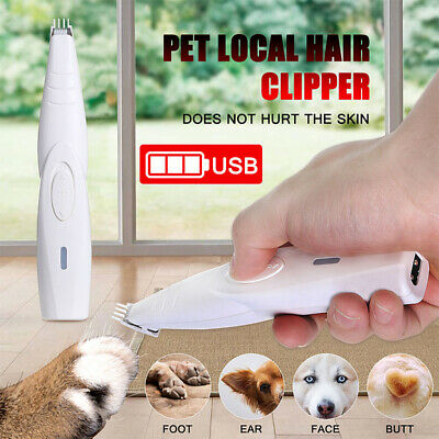 Electric Mute Pet Cat Dog Foot Hair Clipper Trimmer Cordless USB Rechargeable