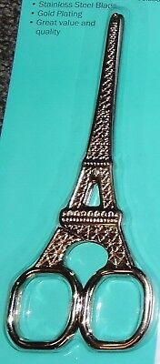 """Eiffel Tower Gold Plated Embroidery Scissors Handle 5½"""" Stainless Steel Quilting"""