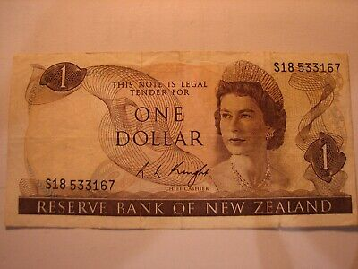 New Zealand Dollar $1 banknote R L Knight - 1985 - 89.