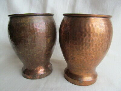 Antique Solid Handmade Copper Cups Hammered Finish Pair Arts & Crafts