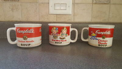 3 large vintage Campbell Soup mugs / cups