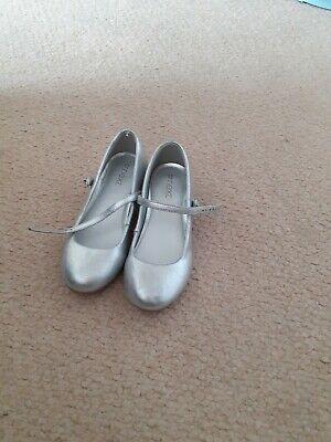 Next Size 12 Girls Silver Party Shoes
