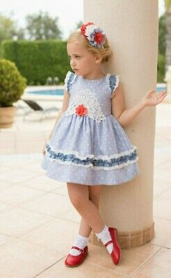 NEW SS20 Dolce Petit Blue Pinstripe & Polka Dot Girls Dress Spanish Clearance