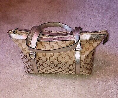 Authentic GUCCI  GG Logo Shoulder Bag With GOLD BRONZE Leather Strap Pre-Owned