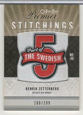 Henrik Zetterberg 2009-10 Ud O-Pee-Chee Premier Stitchings #Ps-Hz Red Wings Mint