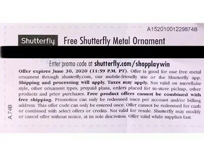 Shutterfly Metal Ornament. Code expires 06/30/2020