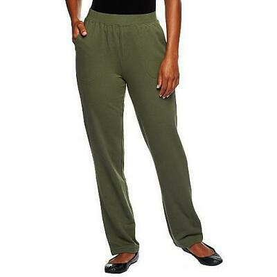 """Denim & Co Active Size 2X (Petite) 28"""" Inseam Dk Olive French Terry pullon Pants"""
