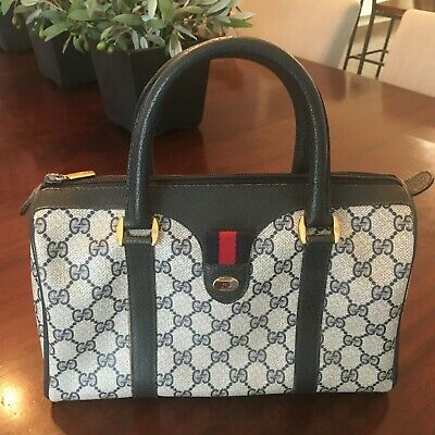 Auth Vintage Gucci Ophidia Web Stripe Navy GG Canvas Leather Hand Bag