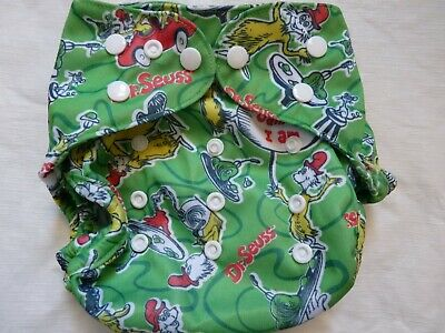 New Green Eggs & Ham Cloth Diaper Cover Double Gusset FlipThirstieBummis PUL EB1