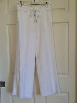 Alfani Women's Pants Bright White Linen Blend Wide Leg Size 2P Comfort Waist