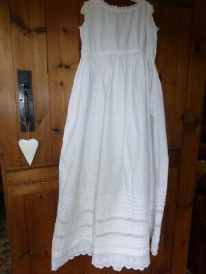 Antique Victorian White Cotton & Lace Full Length Christening Petticoat / Slip