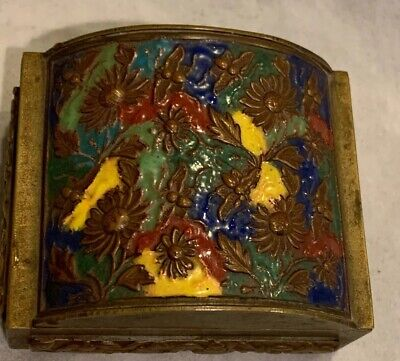 """Antique Chinese Brass  Cigarette? Box With Colored Enamel Decorated Lid 3""""x3"""""""