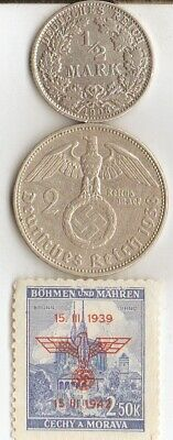 """#-4)-*Two *german SILVER(.900%,.625%)  coins-+WW2 - Stamp + *king """"Tut"""" coin"""