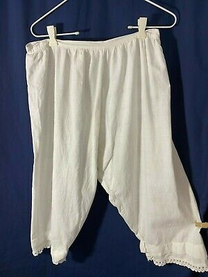 Victorian Bloomers- M -White Feedsack Fabric w/ Crocheted Trim -VG- EVERYDAY