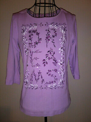 "Christopher & Banks Womens Size L Lavender Top Rhinestone  ""DREAMS""  3/4 Sleeves"