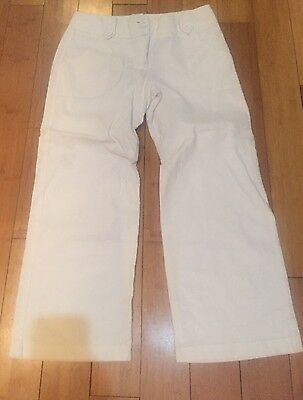 Dorothy Perkins White Linen Trousers Size 12 Wide Leg, Ex Con
