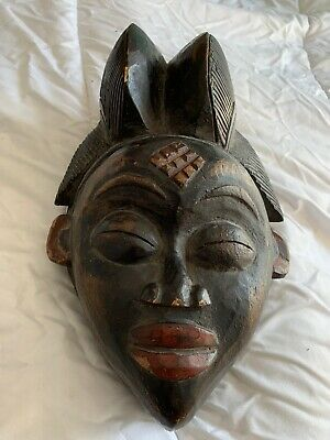 "Antique Rare Punu Lumbo African Tribal Hand-carved Mask 9"" Tall"