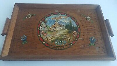 Antique Hand Carved Wooden Tray Handles  Germany Folk Art Vintage Wood Art