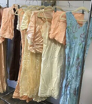 VTG 1930's 40's Lot of 10 Pieces Negligees, Slips, Tap  Pant  Silk / Rayon Satin