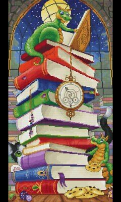 Dragon Books cross stitch chart a