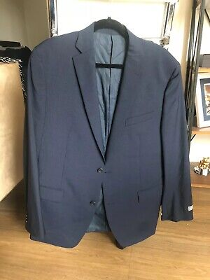 Michael Kors 42L Plaid Navy Suit Jacket