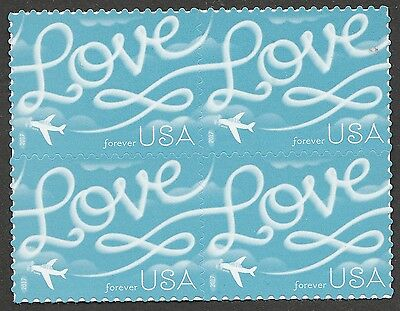 US 5155 Love Skywriting forever block (4 stamps) MNH 2017