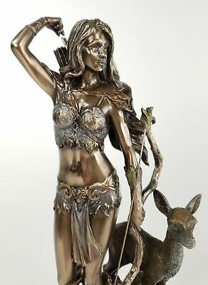 "10"" Artemis Greek Goddess of the Hunt Moon and Chastity Statue Bronze Finish"
