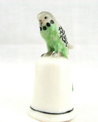 Australian Green BudgerigarThimble Hand pained and Porcelain made