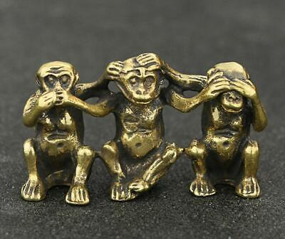 Exquisite Chinese Old Pure Brass Handwork Three Monkeys statue collectable /Va02