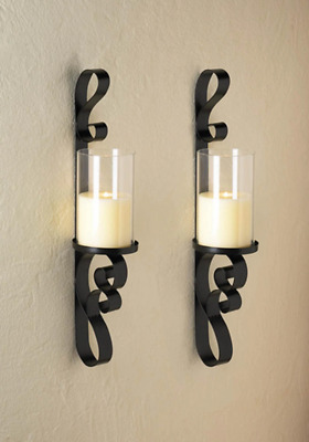 2 set Black iron Artisanal Sconce scrollwork WALL mount hurricane candle holder