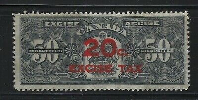 CANADA REVENUE - 20c EXCISE TAX RED OVERPRINT ON 50 CIGARETTES TOBACCO STAMP