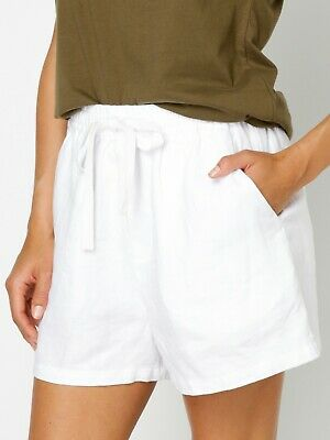 EUC Assembly Label Base Linen Short in White Size 8  (RRP $79.95)