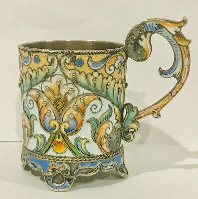 Rare antique Russian Imperial enamel solid silver cup, Moscow, hallmarked 88