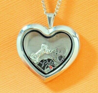 Black Labrador Heart Memory Locket Necklace || Lab Keepsake Jewelry