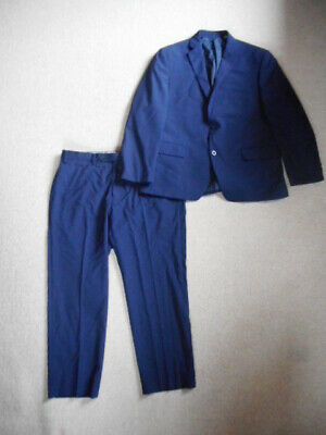 Mens Suit-MICHAEL KORS- navy blue plaid 100% wool lined-42S