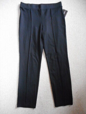NWT Womens Pants-COUNTERPARTS-black rayon stretch knit seamed skinny pullon-M