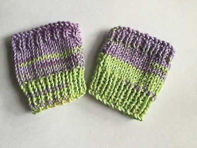 Baby mittens Fingerless green/ mauve Mitts Girl Cotton Handknitted New