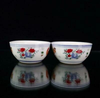 """Old China """"DouCai"""" Hand Painting Chicken Porcelain Cup """"ChengHua"""" Marked /Wb01"""
