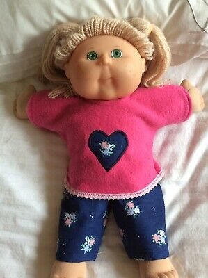 """DOLLS CLOTHES fit 16"""" CABBAGE PATCH DOLL - Pants Navy: Small Flowers Top  : Pink"""