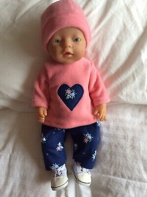 """Doll Clothes to fit 17"""" Baby Born doll ~ 3 Piece Set Pink : Navy"""