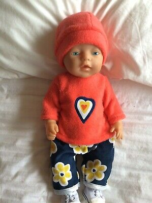 """Doll Clothes to fit 17"""" Baby Born doll ~ 3 Piece Set : Orange : Navy"""