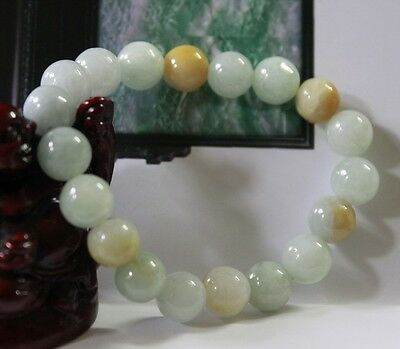 Certified Natural Grade A Untreated Multi-Color Jadeite Jade Beads Bracelet 10mm