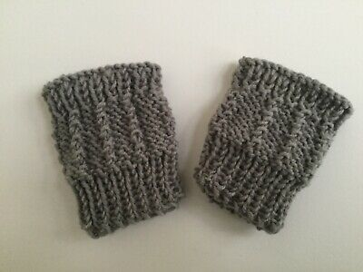 Baby mittens Fingerless Grey Boy/ Girl mitts Merino Wool 4 ply Handknit New