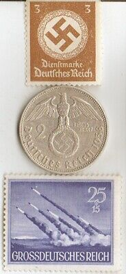 """#-1)-*WW2-*german SILVER EAGLE coin and STAMP of """"PINAMUNDA"""" rocket Lunch +"""